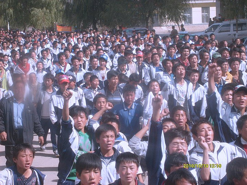 Tibetan students in Rebkong, Tibet